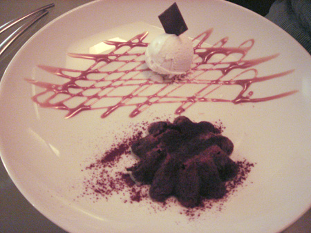 Warm Chocolate Cake with Coconut Sorbet