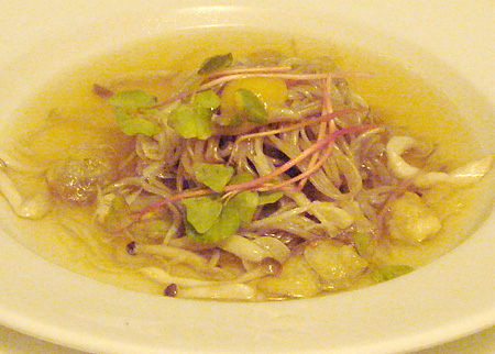 Chilled Korean Buckwheat Noodles and Honshimeji Mushrooms in Broth @ Annisa