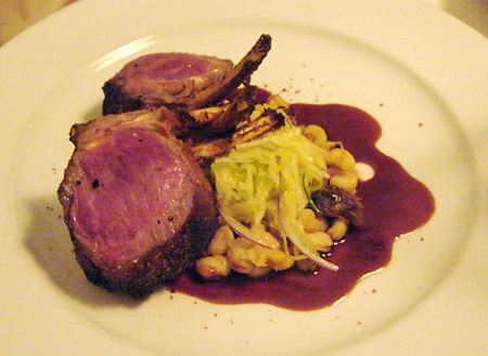 Smoked Australian Rack of Lamb with Iroquois Hominy @ Annisa