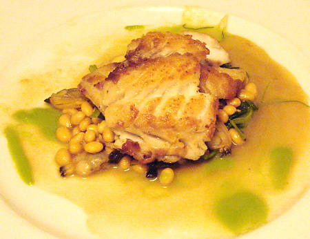 Sautéed Filet of Hake with Chinese Cured Pork Belly, White Soy Beans ...