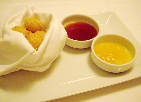 Sesame Mochi with Coconut and Pineapple Dipping Sauces @ Annisa