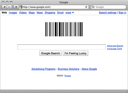 Google Homepage with Barcode Doodle
